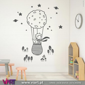 The little Prince in the balloon! Wall Sticker - Viart 1