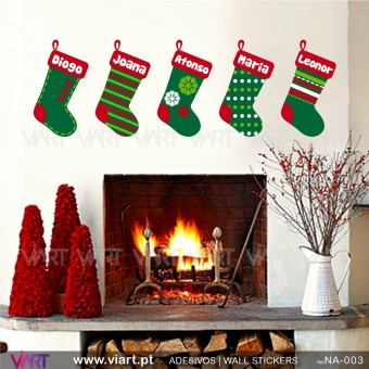 Set of 2 Christmas socks! Wall Stickers - Viart 1