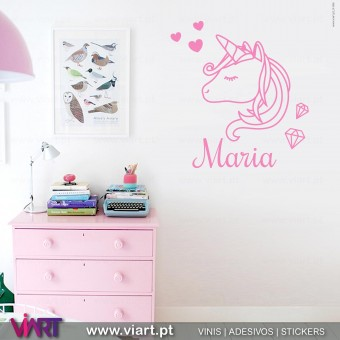 Viart - Unicorn with name! Wall Sticker - Wall Decal