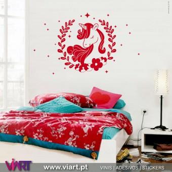 ViArt.pt - Unicórnio Floral! Vinil Decorativo Parede! Decoração em Vinil Adesivo - 1