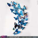 12 Blue 3D Butterfly Magnetic Wall Stickers - Viart 1