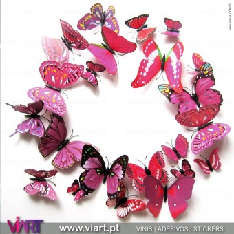 12 Pink 3D Butterfly Magnetic Wall Stickers - Viart 2