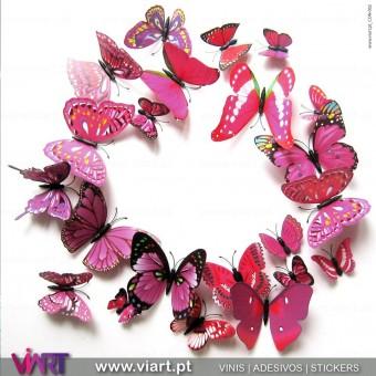 Borboletas Cor de Rosa! Magnéticas! Efeito 3D