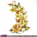 Conjunto de 12 Borboletas Magnéticas Amarelas! Efeito 3D! Viart 1
