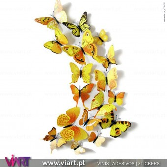 12 Yellow 3D Butterflies Magnetic Wall Stickers - Viart 1