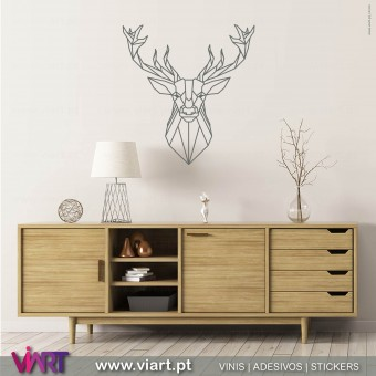 ViArt.pt - Drawn Origami Deer Head! Wall Sticker - Wall Decal -