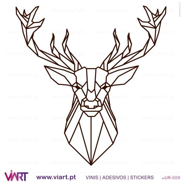 Drawn Origami Deer Head Wall Stickers Wall Art Viart