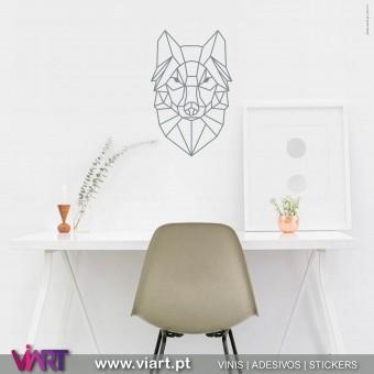 ViArt.pt - Origami! Cabeça de Lobo! Vinil Decorativo Parede! Decoração em Vinil Adesivo -