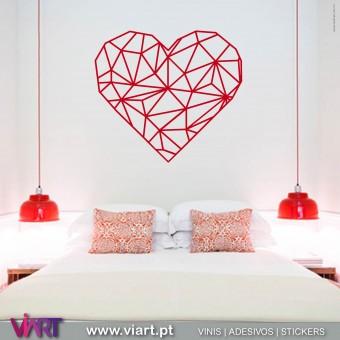 ViArt.pt - Origami! Coração! Vinil Decorativo Parede! Decoração em Vinil Adesivo - 1