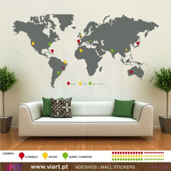 WORLD MAP with pins! Wall sticker