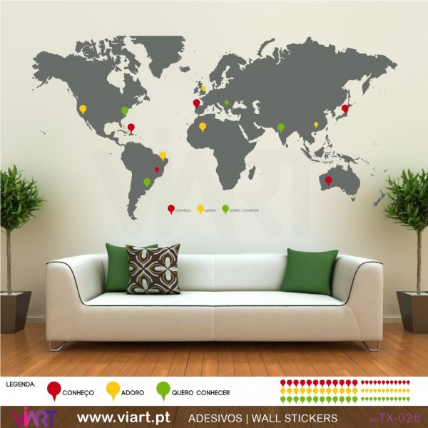 World map with pins wall stickers vinyl decoration viart 1
