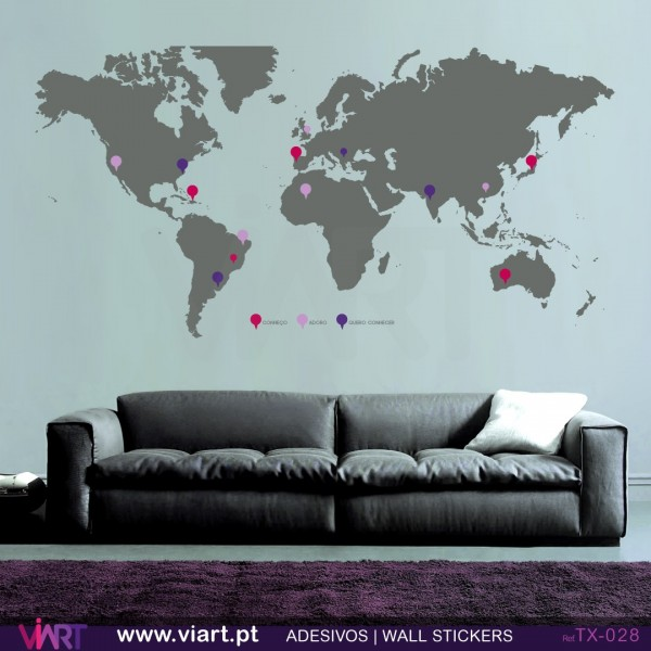World map with pins wall stickers vinyl decoration viart world map with pins wall stickers vinyl decoration viart 3 gumiabroncs Image collections