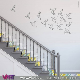 Drawn Origami Flock of Birds! Wall Stickers.