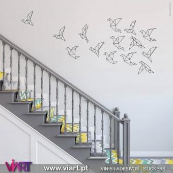 ViArt.pt - Origami! Bando de Aves! Vinil Decorativo Parede! Decoração em Vinil Adesivo - 1