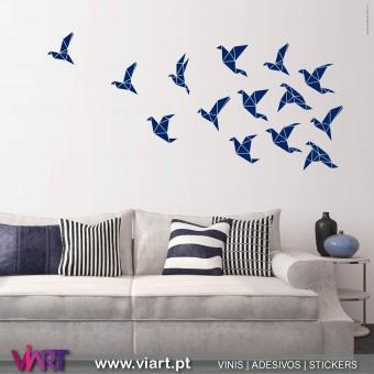 ViArt.pt - Origami! Bando de Aves -2! Vinil Decorativo Parede! Decoração em Vinil Adesivo - 1