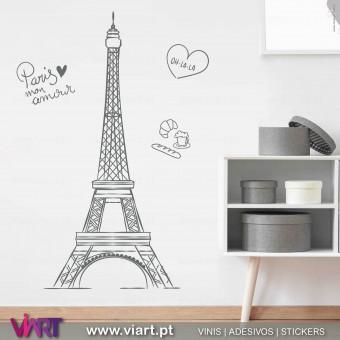 ViArt.pt - Torre Eiffel - Paris mon amour! Vinil Decorativo Parede! Decoração em Vinil Adesivo - 1