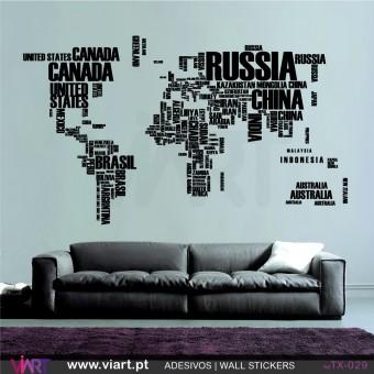 MAPA MUNDO com os nomes dos países! Vinil Autocolante para Decoração - Viart -1