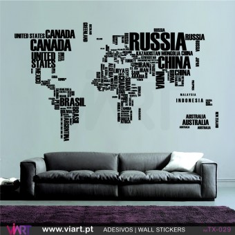 WORLD MAP made with the name of the countries! Wall stickers - Vinyl decoration - Viart -1