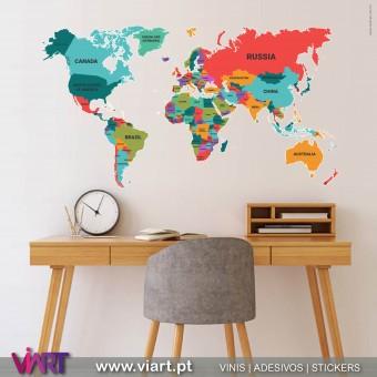 ViArt.pt - Mapa Mundo com nomes dos países! Vinil Decorativo Parede! Decoração em Vinil Adesivo - 1
