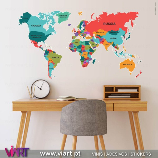 Political world map wall stickers wall art viart viart political world map wall sticker wall decal 1 gumiabroncs Choice Image