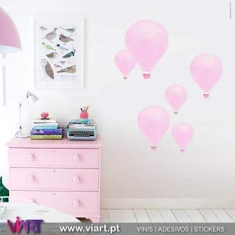 Viart.pt - Balões de ar quente! Balão adesivo - Vinil Decorativo Parede! Decoração com Vinis Adesivos - 1