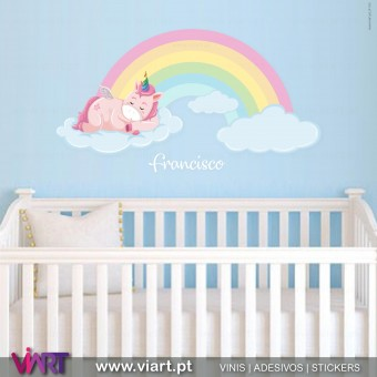 Viart.pt - Unicorn on a cloud with name! Wall Sticker - Wall Decal - 1