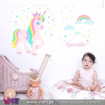 Viart.pt - Enchanted Unicorn with name! Wall Sticker - Wall Decal - 1
