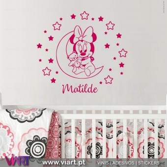 Viart.pt - Minnie in the stars with name! Wall Sticker - Wall Decal - 2