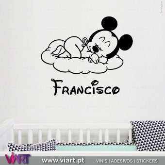 Viart.pt - Bebé Mickey com nome! Vinil Decorativo Parede. Decoração em Vinil Adesivo - 1