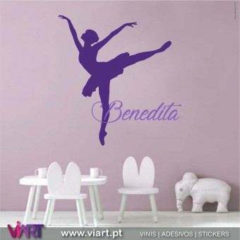 Viart.pt - Ballerina with name! Wall Sticker - Wall Decal - 1