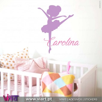 Viart.pt - Menina Bailarina com nome! Vinil Decorativo Parede. Decoração em Vinil Adesivo - 1