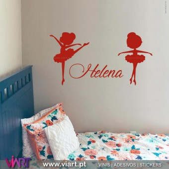 Viart.pt - Little Ballerinas with customizable name!  Wall Sticker - Wall Decal - 1