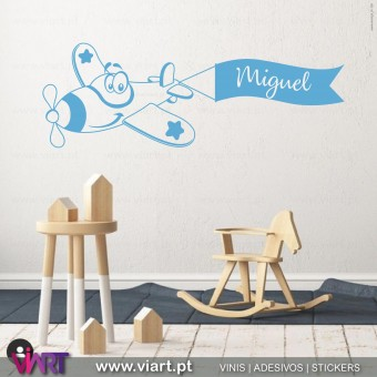 Viart.pt - Plane with custom name!  Wall Sticker - Wall Decal - 5