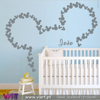 Viart.pt - Mickey with custom name!  Wall Sticker - Wall Decal - 1