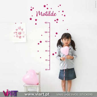 Viart.pt - Growth Ruler with Custom Name!  Wall Sticker - Wall Decal - 1