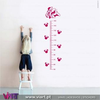Viart.pt - Régua do Crescimento Minnie! Vinil Decorativo Parede. Decoração em Vinil Adesivo - 1