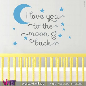 Viart.pt - I love you to the moon and back! Moon and Stars! Wall Sticker - Wall Decal - 1