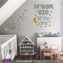 Viart.pt - DREAM BIG little one! Com Lua e Estrelas! Vinil Decorativo Parede. Decoração em Vinil Adesivo - 1