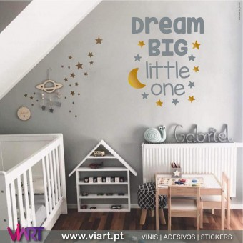 Viart.pt - DREAM BIG little one! With Moon and Stars! Wall Sticker - Wall Decal - 1