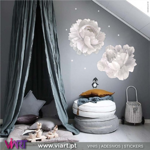 Peonies Unique Beauty Pink Flowers Wall Stickers Viart