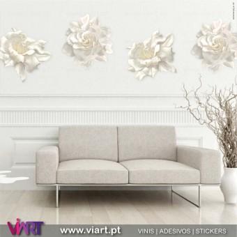 Viart.pt - Peónias! Beleza Rara! Flores Creme em Vinil Decorativo de Parede. Decoração em Vinil Adesivo - 1