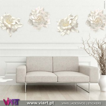 Viart.pt - Peonies! Amazing beauty! Creme Flowers Wall Sticker - Wall Decal - 1