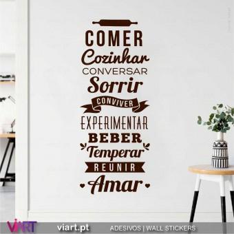 Comer, Cozinhar... Amar...  Vinil Decorativo Parede! Autocolante para parede - Viart - 1