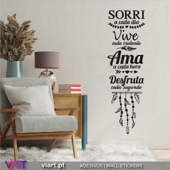 Sorri... Vive... Ama... Vinil Decorativo Parede! Autocolante para parede - Viart.pt - 1