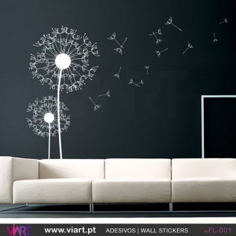 2 dandelion flowers with 15 spores - Wall stickers - Vinyl decoration - Viart -1