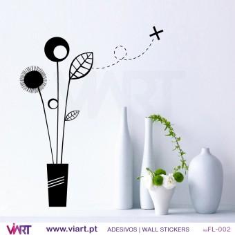 Vaso com flores - Vinil Autocolante para Decoração - Viart -1