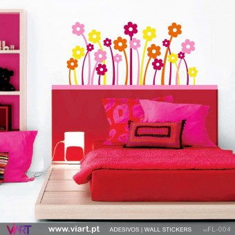 22 colorful flowers - Wall stickers - Vinyl decoration - Viart -1