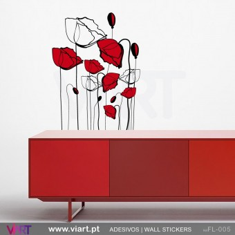 Conjunto de 14 flores - Vinil Autocolante para Decoração - Viart -1