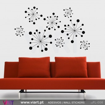 Set of 8 stylized flowers - Wall stickers - Vinyl decoration - Viart -1