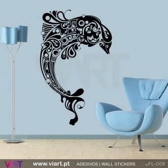 Floral Dolphin - Wall stickers - Vinyl decoration - Viart -1